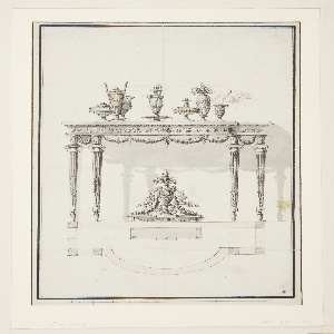 Console table in Louis XIV style, shown in elevation and plan.  The plan is drawn directly below the elevation.  According to the plan, the table's central projection is convex.  The shadow of the table is projected on the back wall.  Small seven objects, vases and urns, stand on the table.  The side of the table is decorated with small festoons.  Underneath the table stands a decorative centerpiece. Six legs are suggested in the plan. Scale noted on bottom.