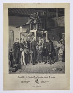 M. le Duc D'Aumale à la Croix-Rousse visits the workroom of M. Carquillat. A group of men stands before the loom as M. le Duc D'Aumale à la Croix-Rousse holds a portrait of Jacquard.