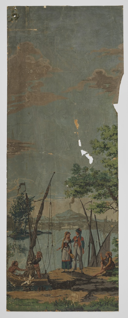 """Twenty-two pieces of French scenic wallpaper showing scenes of Italy. The seventeen largest pieces of the paper form four scenes, together filling a space approximately 87"""" high, of approximately 43 running feet. Plus about 12 unnumbered small fragments of various sizes to be used in remounting the scenes."""