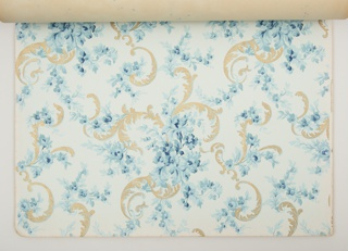 Approximately thirty different patterns all available as matched sets of sidewall, border, and ceiling paper. Each pattern is shown in multiple colorways. Predominant colors in this catalogue are red and green, with more limited blue and beige/tan. Patterns include florals, medallions, stripes, and some all-over designs.