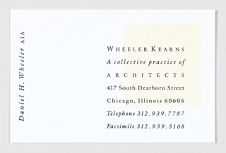 """Daniel H. Wheeler, AIA"" rotated counterclockwise and printed in left margin. Wheeler Kearns business information printed on right side. In background, off-white square printed in top right corner, behind the text."