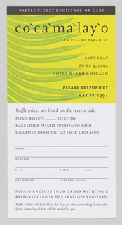 In upper center of raffle entry card, 'Cocomalayo' printed on image of green leaves against solid yellow background. On verso, raffle information printed in black ink on solid green background.