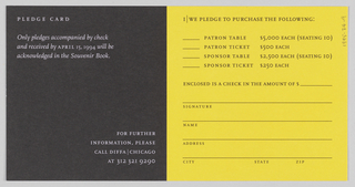In left half of pledge card, 'Cocomalayo' rotated counter-clockwise and printed in blank ink on image of green leaves against yellow background. In right half, image of bananas in 'C' shape against solid black background. On verso, pledge information printed.