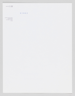 "Single sheet of stationery. ""Hinge"" printed in blue ink and address in black ink in upper left."