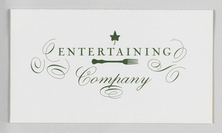 "Business card. ""Entertaining Company"" printed in green ink in two typefaces, serif and cursive respectively. Fork printed in center and stylized swirls surround text. Opens up, ""Joseph Legaspi"" and Chicago address printed green ink against gold background."