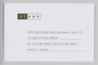 "Business card. In top left, STAND, enclosed in rectangle, with ""ST"" in white against dark green background, and ""AND"" in dark green against white background."