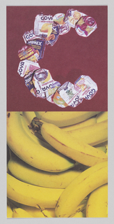 "In upper center, image of crushed 'Goya' cans form ""C"" shape against burgundy background. In lower center, image of multiple, piled bananas. On verso, ""Cocomalayo"" rotated counter-clockwise and printed in green ink at center. DIFFA Chicago information printed in upper left."