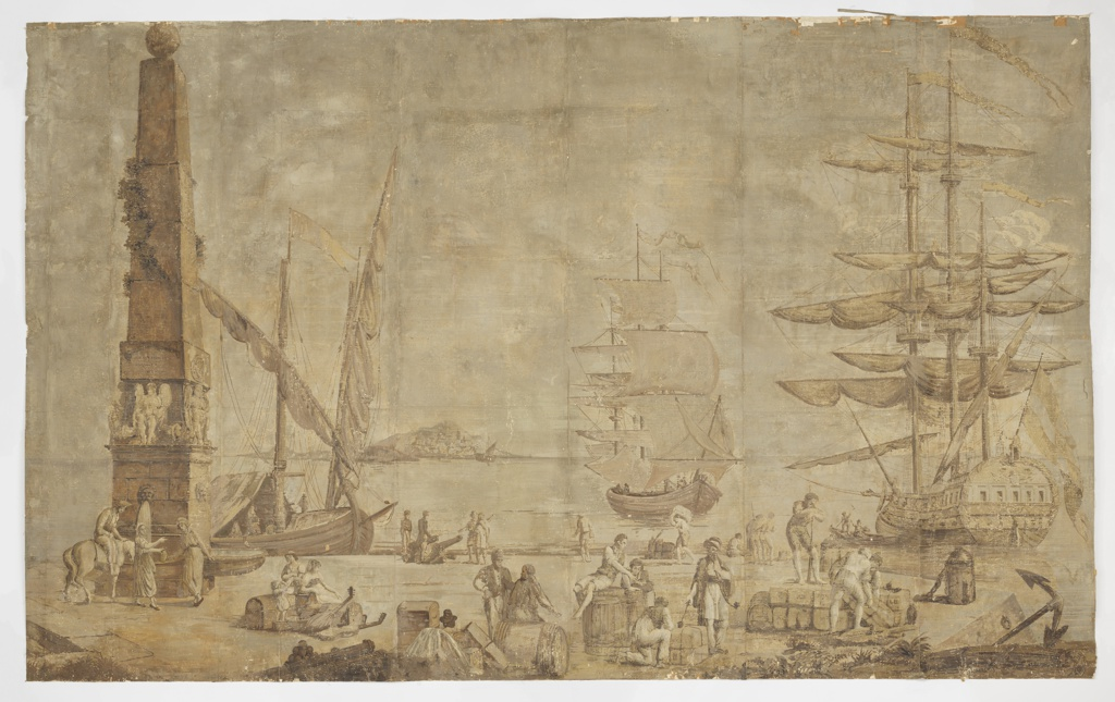 In sepia tones. Elaborate fountain with obalisque, tall ships in a harbor, many figures carrying on business in the foreground.