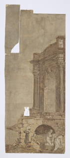 In sepia tones. Scene contains a triumphal arch along with two women carrying baskets while two women do laundry