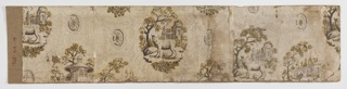 On white background, possibly polished, pattern in gray, white, brown, pink, olive green with pattern sparsely distributed of neo-classical oval medallions, garden scenes - gazebo, sheep, entrance gate, and colonade. This is a bandbox bottom that has been flattened.