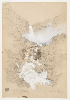 Drawing, Tequendama Falls near Bogotá, Colombia