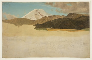 Drawing, Mount Chimborazo and Guaranda, Ecuador
