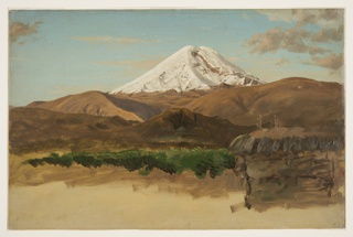 South American landscape with view of snow-capped volcano.