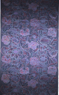 Large flowers against a striped background. 14 shades of purple and gray.