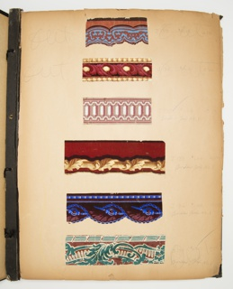 Scrapbook containing 98 samples of paper, including 96 borders and 2 sidewalls. The pages samples are mounted on are very acidic and in a very fragile state.