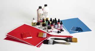 Ink Bottles, Brushes, And Hand-painted Papers