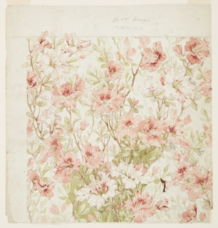 Recto: All-over design of coral azaleas with foliage.  Verso: Single stalks of violet iris.