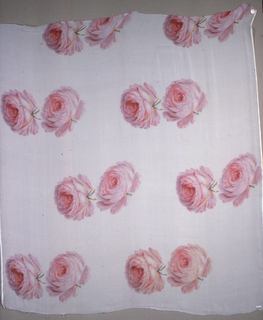 White ground with design of two very large-scale roses, printed in pink, violet and green, spaced over ground in pairs.