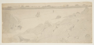 Sketch of a beach with rocks in the foreground and three figures in the distance. Houses line the coast along the horizon.