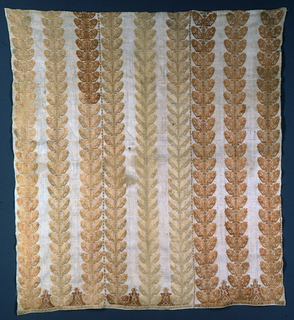 Panel made from three widths of fabric joined with embroidery; each width ornamented with three strips of tan and brown silk embroidery in leaf patterns.