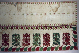 Two widths of linen sewn to a red and green striped silk ribbon, embroidered in red and green silk cross stitch. Lower width: large units of Glastra pattern in a row, set vertically, border of oblique leaves on all four sides. Upper width: in a much smaller cross stitch, a row of small pots set on their sides, bordered on four sides by small angular oblique leaves.