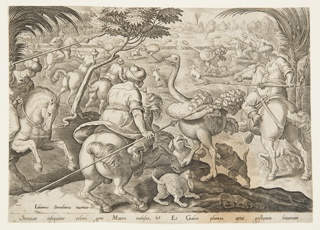"Horizontal rectangle. Horsemen and dogs hunting ostriches. At lower left: ""Iohannes Stradanus inuentor."" Below: ""Struition in seguitur celeri gens Maura molosso..."""