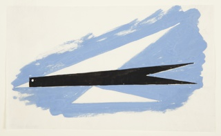 "Study for ""Quickest Way by Air Mail"" poster. An angular, abstract rendering of a bird in flight (recalling a paper airplane) is surrounded by blue sky. The bird's body is solid black with white circular eye and white triangular beak. The upper wing is formed by an elongated white triangle; the lower wing formed by a smaller elongated white triangle."