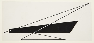 "Study for ""Quickest Way by Air Mail"" poster. An abstract rendering of a bird, the body in solid black with a white circular eye, and two triangular wings rendered in heavy, black outline. A white diagonal line connects the two triangular wings across the central black body. The beak is indicated by a small white triangle which touches the left margin."