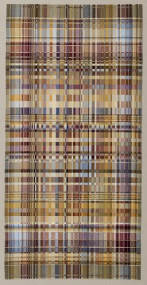 Rectangular weaving with a very fine abstract geometric pattern of small rectangles in shaes of tan, lilac, steel blue, and ochre.