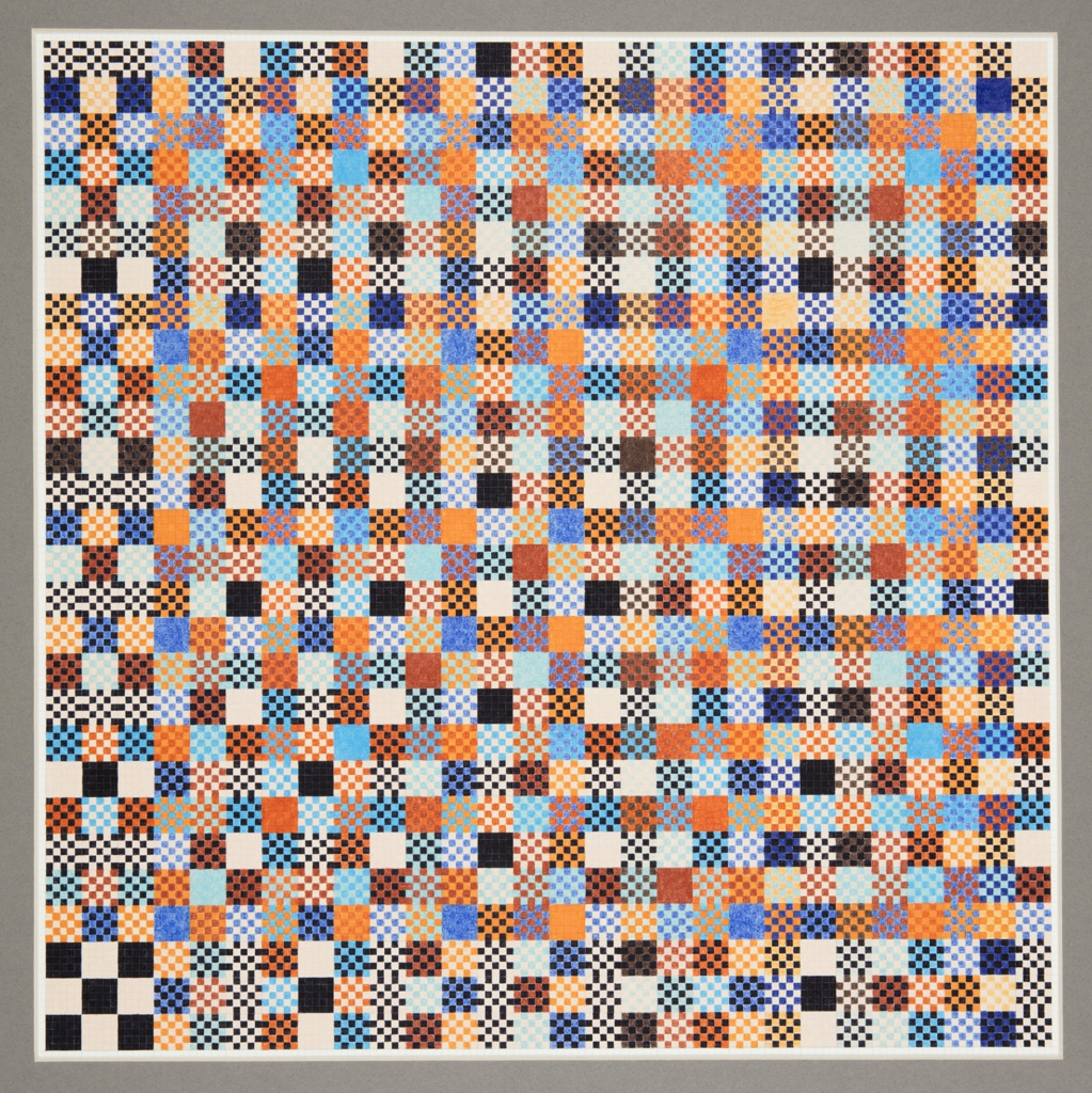 Square drawing of a grid of squares, some solidly colored and others filled with a checkerboard of dots of two colors.