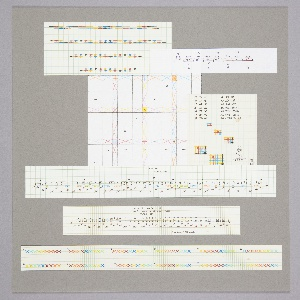 A piece of gray mat board with seven pieces of paper affixed to it, each with different weaving notations in color pencil.