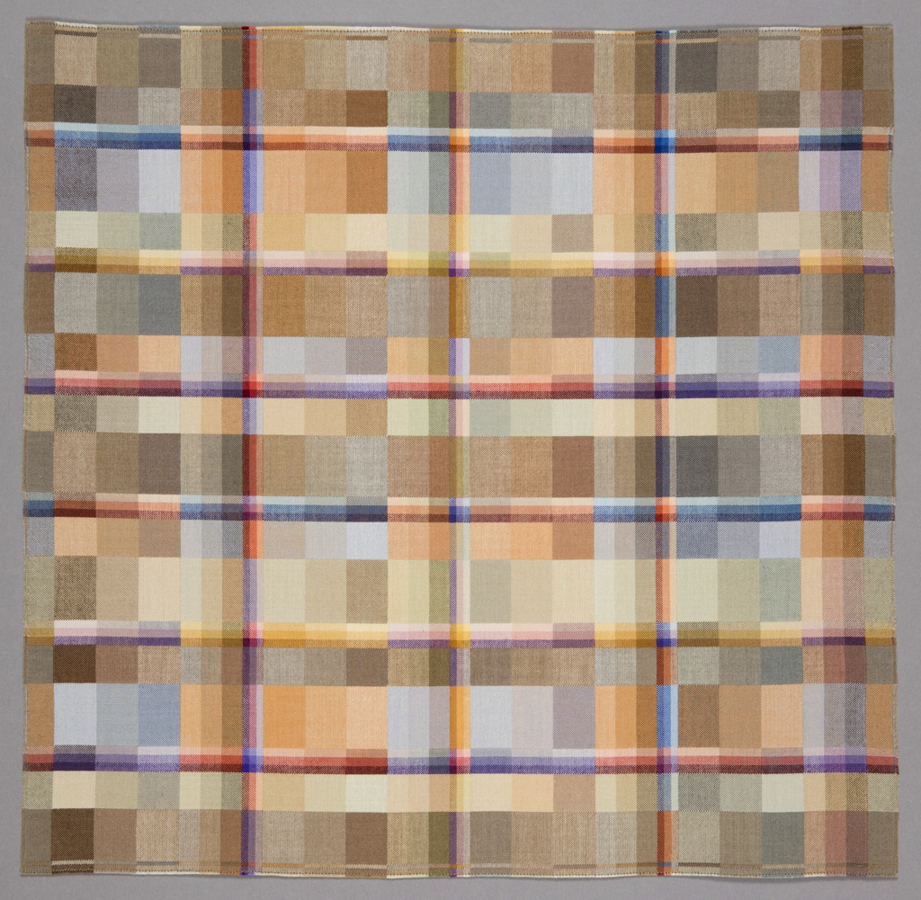 Small square weaving with a lattice of narrow rods appearing to stand off the surface of a field of softly colored blocks.