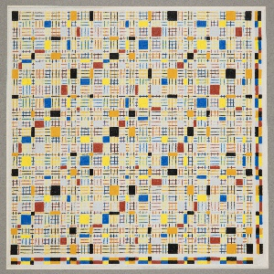 Square drawing of a design for a woven textile. A grid of squares, some rendered as solid colors, others with horizontal and vertical lines of different colors.