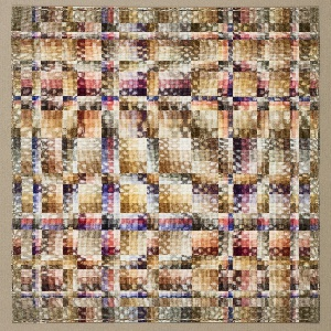 Rectangular weaving with an abstract geometric pattern of small rectanges, with an overlying grid, in shades of tan, lilac, black, white, and pink.
