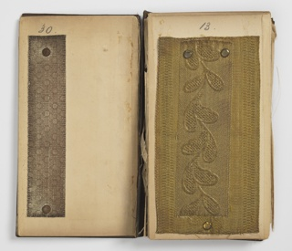 """Accordion-pleated stiff paper folder with front board cover with dark imitation pebbled leather printed in gold, """"Compliments of the New York Watering Co., Printing, Moiré, Re-dyeing and Finishing."""" Contains numbered samples, stapled to pages, of metallic trimmings that are stamped, woven and printed in imitation of chiné designs."""