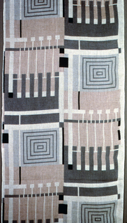 Length of printed linen with a geometric design of concentric squares and comb-like forms in shades of gray and light brown on an unbleached ground. Five colorways attached to back.