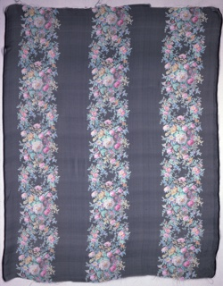 Textile sample with a black ground has three broad vertical columns of densely massed small roses and other flowers. Both selvedges present on all samples.