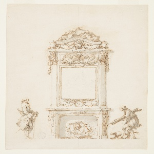 An ornate mantelpiece, decorated with sculpted reliefs of lion heads and scrolls, occupies the center of the design. A carved frame, supported by pilasters and ornamented with garlands, rosettes, and griffins terminates in a triangular pediment. The overmantel contains an antique bust of Antinous in profile lightly drawn in graphite. Flanking the mantelpiece are two men. On the right, a man who seems to be of humble origins, accompanied by a dog, crouches, holding wooden planks. On the left, a well-dressed man stands and watches, holding a walking stick.