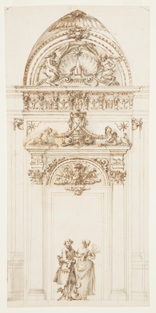 Above the door frame is a half circle with a trophy of arms of Cardinal Albani. Above the straight entablature of the door-case, in the center, is a vase with dolphins beside it and garlands hanging cross-like from the backs of crouching sphinxes. A prior suggestion has been erased. The entablature is richly decorated and subdivided horizontally by consoles with ram's heads. In the frieze, in the place of triglyphs, alternate a female herma and two figures beside a candelabrum. Above, a wall of a pointed vault into which is inscribed a half circle with a shell on top and a mask at the point. In the lunette, the star and the threemount of the Albani appear upon a pedestal in front of a shell, in the center of a broken pediment on the cornices of which sit satyrs with palm branches. In the door, a lady with a fan, a gentleman–with his left hand outstretched and carrying a walking stick–and a dog appear.