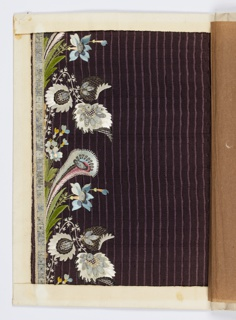 Floral design embroidered with multicolored silk and chenille thread, metallic thread and wire, sequins and glass on a deep purple ground with vertical stripes.