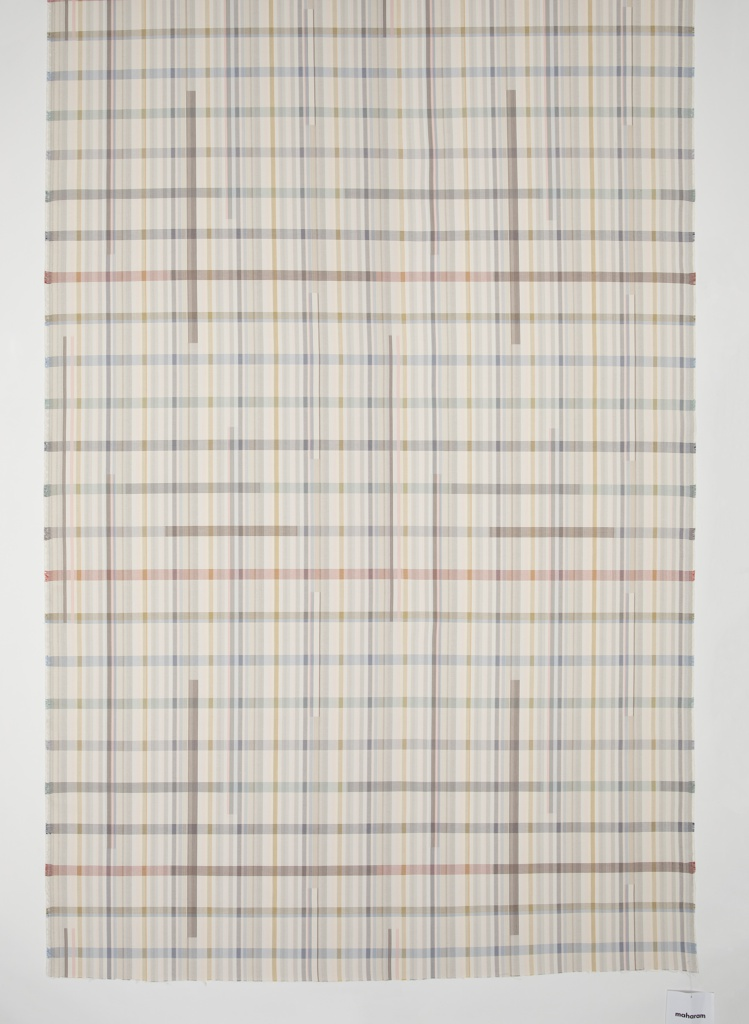 Length of woven textile with a plaid pattern in pastel shades. Long, narrow rectangles of pattern appear to separate and float from the background.