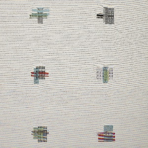 Length of woven textile with an off-white ground and scattered overlapping rectangles of different color and weave combinations in pastel shades.