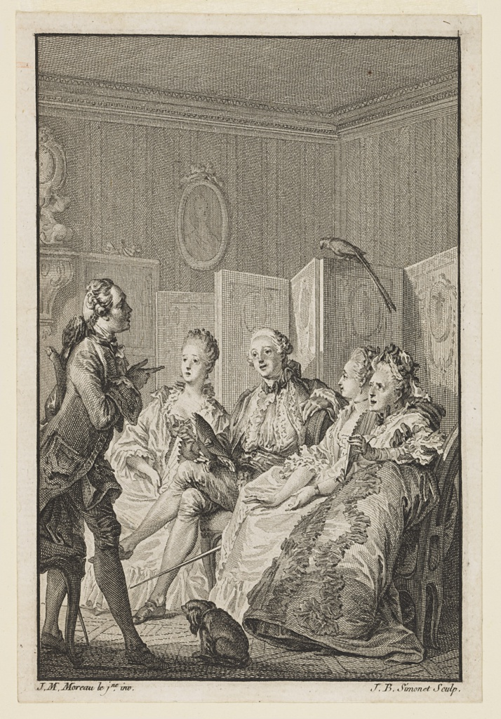 Illustration for M. Bret, La Critique de L'École des femmes (Critique of The School for Wives), Oeuvres de Molière (Works of Molière), Vol. II, p. 446. A Marquis sits in a room in front of a screen with three ladies listening to a man (Derante) who stands in front of them. A dog appears in the center foreground, with back turned, and a bird with a long tail sits atop the screen.