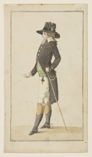 "Engraved, hand-colored fashion plate featuring a full-length figure of a man, facing left in profile. He wears a greyish-brown coat and a matching hat, along with a white cravat and breeches. A waistcoat with a green and white pattern is underneath his coat. He carries a long thin walking stick in his left hand. Appeared in Journal des Luxus und der Moden (The Journal of Luxury and Fashions), Vol. 2, No. 3, March 1787, after p. 96. The text in the journal refers to him as ""Pariser Elegant aus dem Palais Royal"" (Elegant Parisian from the Palais Royal)."