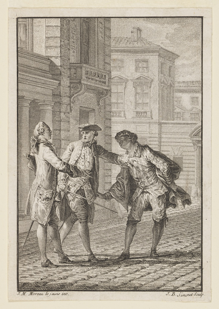 Illustration for M. Bret, L'Etourdi (The Blunderer), Oeuvres de Molière (Works of Molière), Vol. I, p. 91. On a cobblestone street three men (Lélie, Mascarille, Lelandre) start an argument. The man on the right pulls the coat of the center man to gain attention. The arms of the other men are outstretched, and their other hands hold swords. Buildings appear in the background.