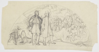 Sketch of General Grant in front of a battle scene within the shape of an architectural lunette.