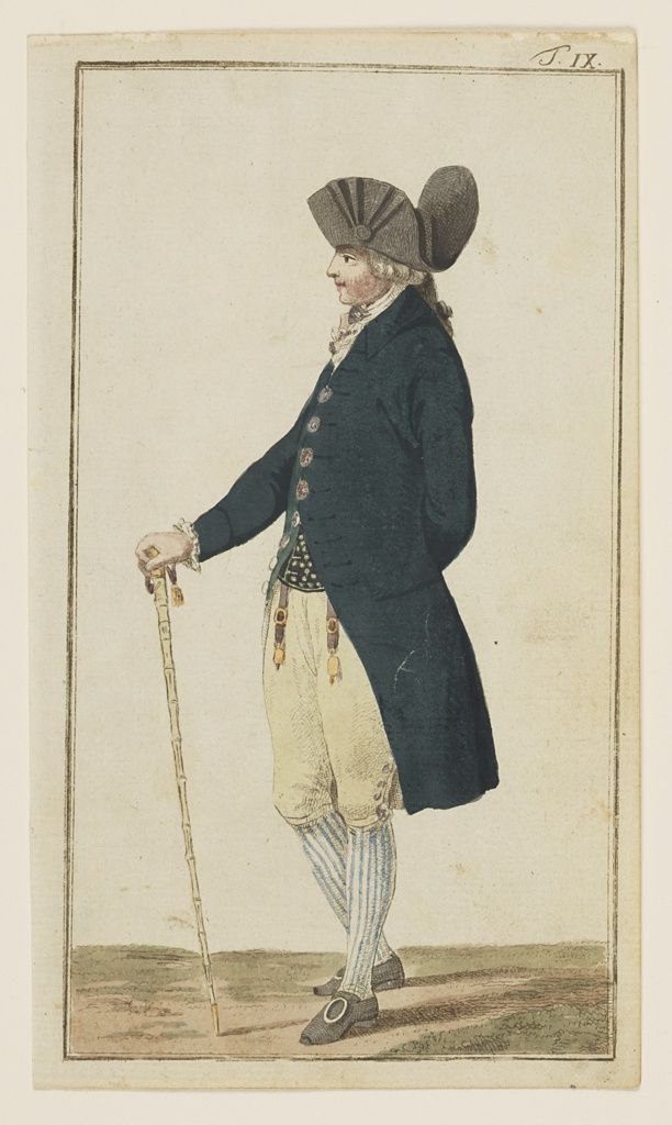 Engraved, hand-colored fashion plate featuring a full-length figure of a man, facing left in profile, wearing a brown hat, a long, navy coat, and yellow breeches. He carries a light brown cane in his right hand. Appeared in Journal des Luxus und der Moden (Journal of Luxury and Fashions), Volume 1, No. 3, March 1786, after p. 140.