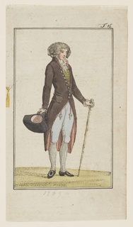Engraved, hand-colored fashion plate featuring a full-length figure of a man with curly hair or a wig, turned towards the right. He carries his black hat in his right hand and a light brown cane in his left. He wears pale blue breeches and a long, brown coat with a white cravat and green and yellow checked waistcoat underneath. Appeared in Journal des Luxus und der Moden (Journal of Luxury and Fashions), Volume 4, No. 6, June 1789, facing p. 276.
