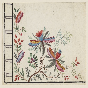 Lower left section of a man's waistcoat or gilet featuring red, blue, yellow, pink, orange, and purple flowers. In the Chinese manner of Jean-Baptiste Pillement. Buttonholes indicated at the left.