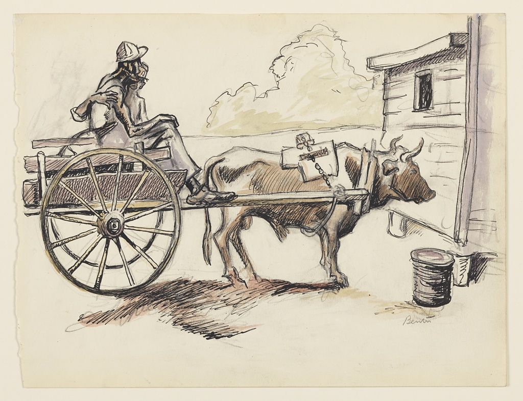 Two men in a two-wheeled cart, drawn by a steer. Facing right. Part of cabin visible, right.